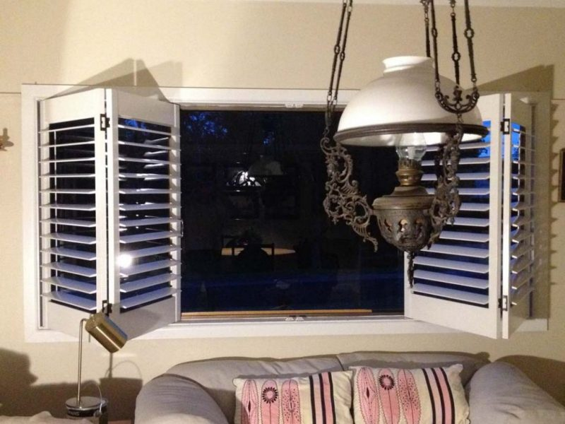 Bifold plantation shutters an a partially open position