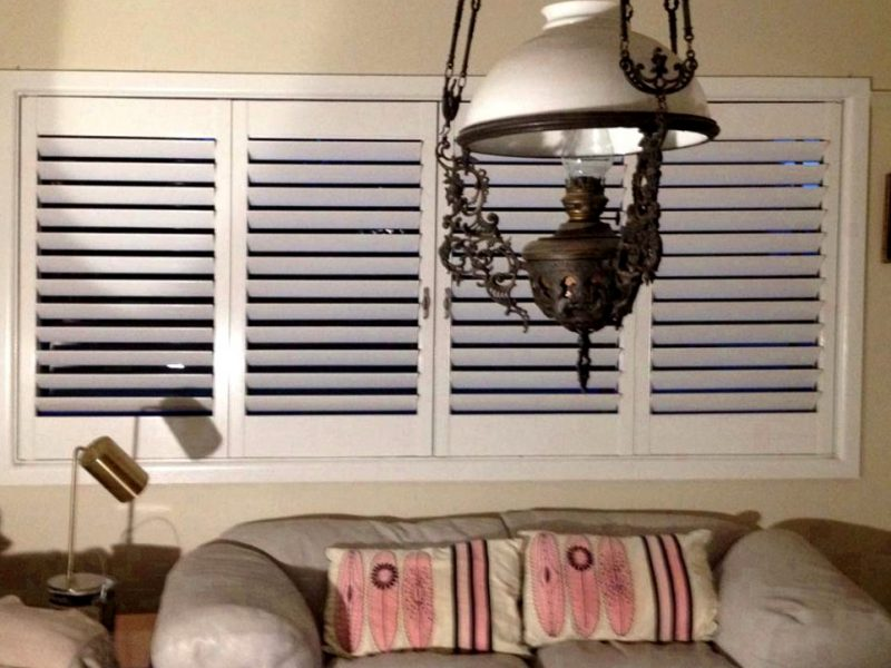 Bifold plantation shutters in the closed position for privacy