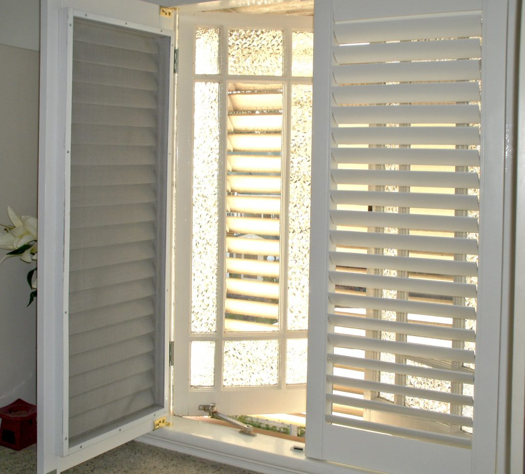 Timber plantation shutters with fly screens, great for the Australian summer